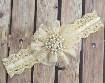 Lace floral headband, lace headband, vintage headband, ivory headband, ivory lace headband, flower girl