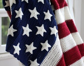 Americana Stars and Stripes Crocheted Afghan,traditional Red,White & Blue