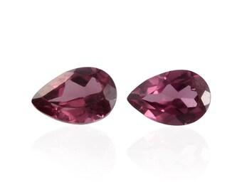 Rhodolite Garnet Set of 2 Pear Cut Loose Gemstones 1A Quality 6x4mm TGW 0.85 cts.