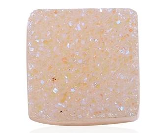 Snow Drusy Quartz Square Cabochon Loose Gemstone 1A Quality 10mm TGW 2.35 cts.