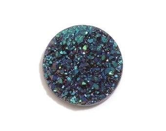 Green Drusy Quartz Round Cabochon Loose Gemstone 1A Quality 9mm TGW 1.25 cts.