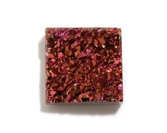 Rose Golden Drusy Quartz Square Cabochon Loose Gemstone 1A Quality 8mm TGW 1.45 cts.