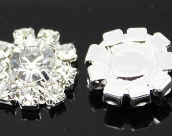 set of 10 pcs Rhinestone Buttons Brooch Embellishment Crystal Hair Flower Comb Clip Wedding Invitation Cake Decoration A30