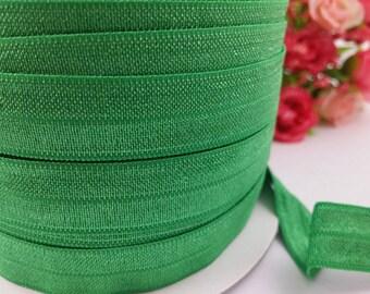 "5/8"" classical green Shiny Elastic, fold over elastic,#579, Elastic by the yard,DIY,Headband,Foe,Wholesale,Foldover elastic,Headbands"