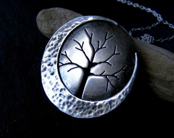 Silver Large Crescent Moon Tree pendant with hammered detail and silver trace chain