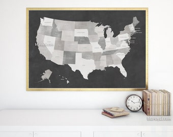 Us Map 36x24 Printable Usa Map With States Names Distressed Vintage
