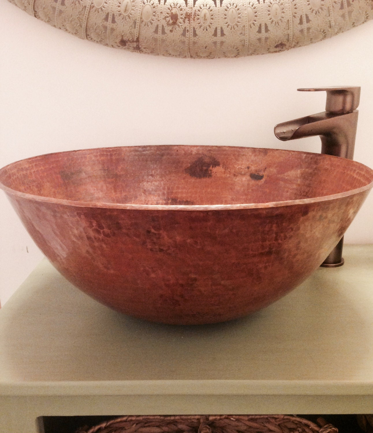 Rustic Sink : Beautifully Rustic Round Vessel Bathroom Sink Shown in