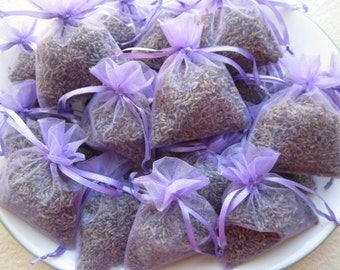 "Wedding Favors 50 Lavender Sachets 3 x 4"" . Wedding Shower favors. Bridal shower, Baby shower. Organza lavender sachets"