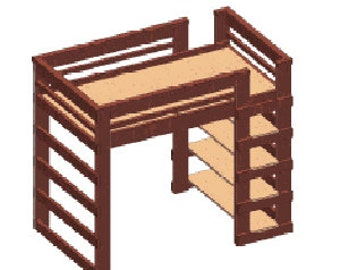 The Supreme Solid Wood Loft Bed Queen Size Double Ladder With Shelves 1000 Lbs Weigh Capacity