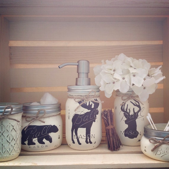 Hand painted mason jar bath set rustic by midnightowlcandleco for Animal bathroom decor