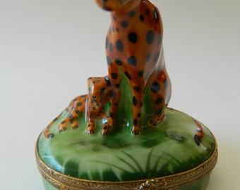 Limoges fine porcelain- Leopard and cub- figueral trinket box