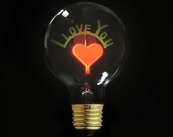 I Love You Edison Light Bulb- Night Light - E27,220V - Special Glowing Bulb - Valentine's Day Gift - ampoule edison - light bulb