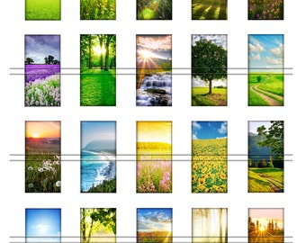Summer landscapes - 1 x 2 inch domino, graphics for scrapbooking, stickers, Digital Printable Images File 8,5x11