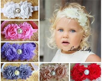Birthday Girl Baby Elastic Headband Hair Band Flowers Double Roses Rhinestone Diamante Crystal Pearl Wedding Christening Photo Smash Cake