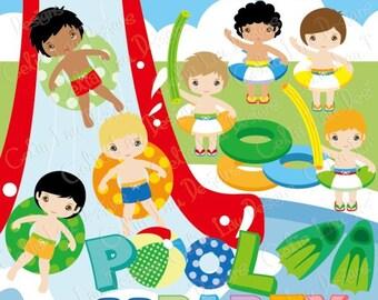 Cartoon Boy Swimming Stock Vectors, Illustrations & Clipart