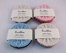 Face scrubbies - 100% Cotton, textured face scrubbies. reusable makeup remover pads, face cloth, wash cloth, crochet scrubbies