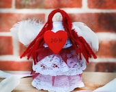 Personalised angel Angel decoration Handmade angel with heart Romantic personalised gift