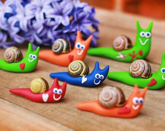 Happy snail, Spring decoration, Polymer clay snail, Fimo handmade animal, Garden decoration, Animal decor, Animal with heart