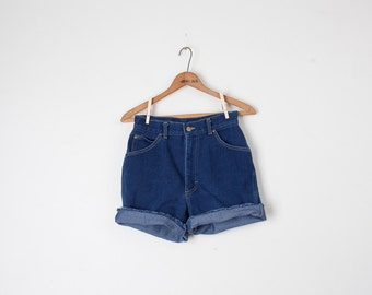 80s High Waist Dark Denim Cutoff Shorts / XS S