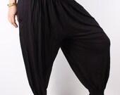SALE///Ultra Soft Combed Cotton Women's Harem Pants in Black Color*High Cut Yoga Pants*Cotton Harem Pants*Comfy Baggy Pants*Beach