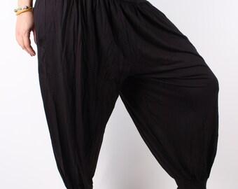 Harem Pants Black Ultra Soft Combed Cotton Women's Harem Pants High Cut Yoga Pants Black Pants Comfy Baggy Pants Beach Women Trousers