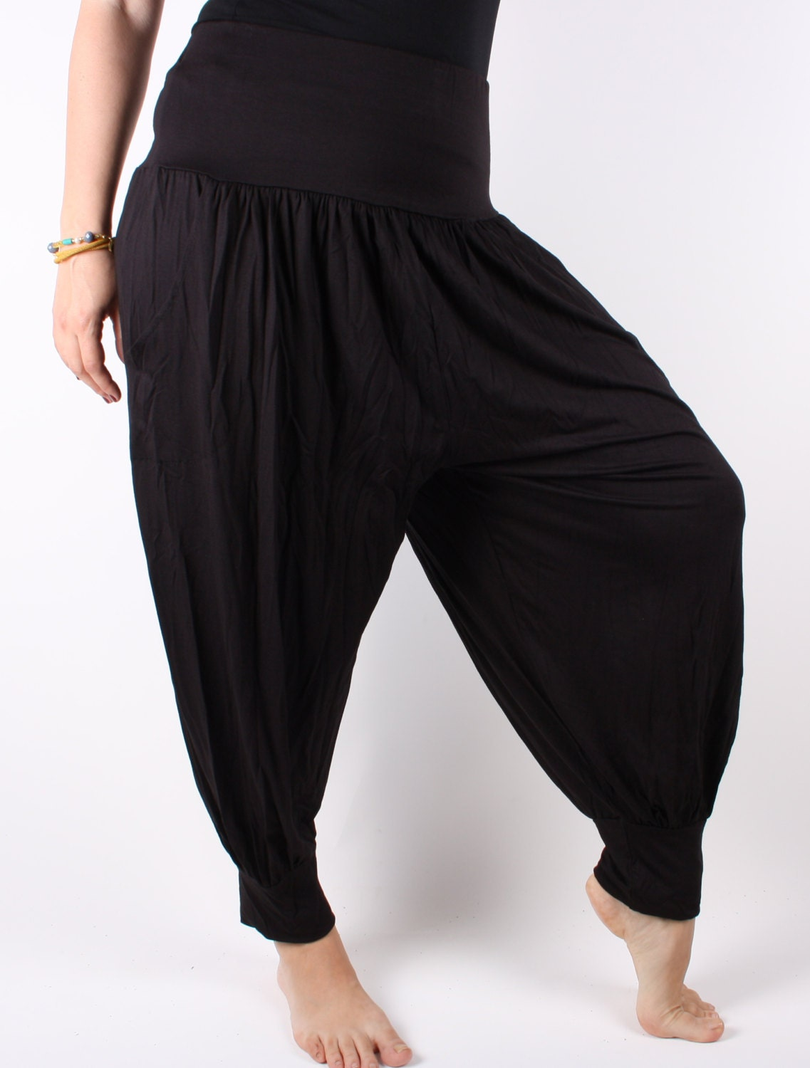 Awesome Harem Pants Black Ultra Soft Combed Cotton Womenu0026#39;s Harem