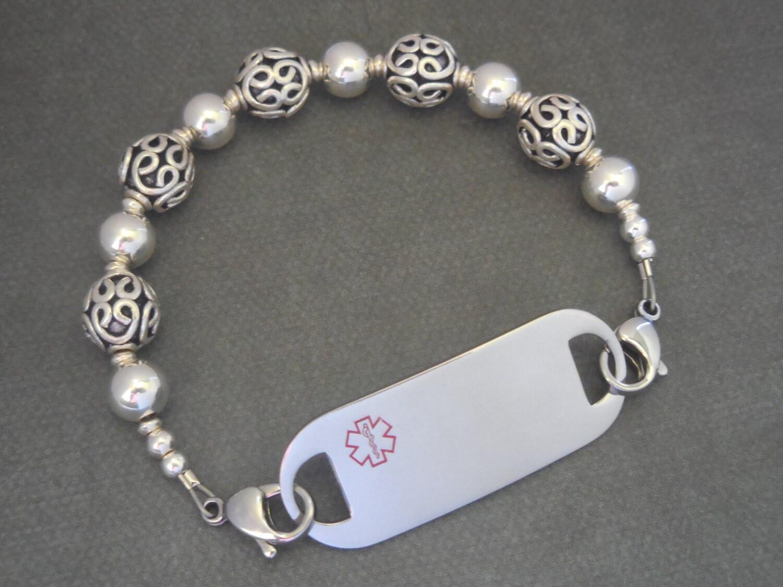 sterling silver id bracelet allergy bracelet womans id