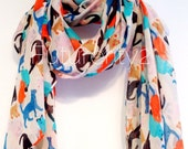 Cats Beige Autumn / Spring Summer Scarf / Gift For Her / Womens Scarves / Fashion Accessories