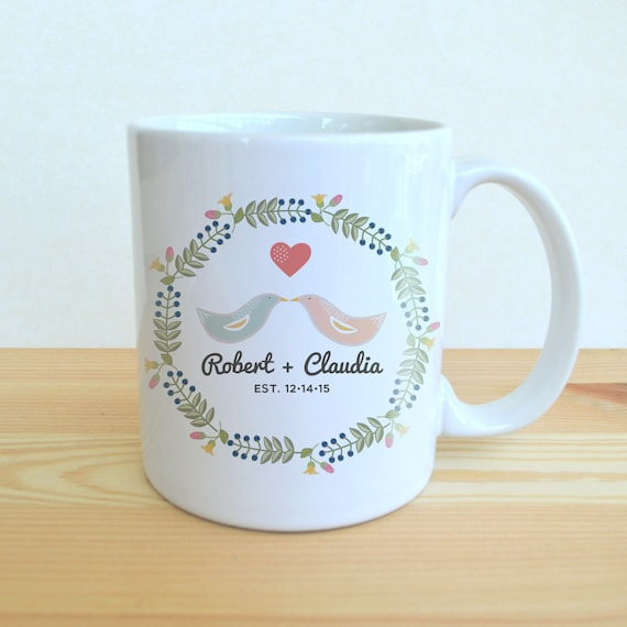 Customized Wedding Coffee Mugs : ... Mug - Love Bird Coffee Mug - Wedding Coffee Mug - Custom Wedding Mug