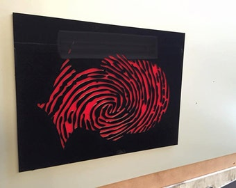 Wall Art Red on Black Perspex
