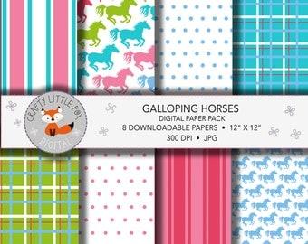 Printable Digital Download, Neon Galloping Horses Digital Paper Pack for Printing, Card Making, Scrapbooking