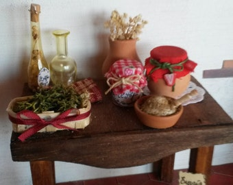 Table with natural products scale 1/12