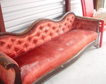 Antique Velvet Victorian Couch, Needs TLC and value will avidly increase, Amazing Conversation Decor