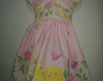Girls Donna Dewberry Daisy Kingdom Flower Party Boutique Twirl Twirly Summer Spring Dress Outfit! 2 3 4 5 6 7 8 Bugs and Flowers Easter