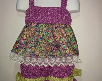 Girls Toddlers Purple and Peacock Boutique Birthday Party Short & Tank Top Shirt Set Outfit! Sizes 2 ,3, 4, 5, 6, 7, 8