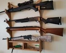 Gun Rack, Rifle Rack , Solid Southern Pine Wood Construction, Holds 4 Rifles Plus Shelf