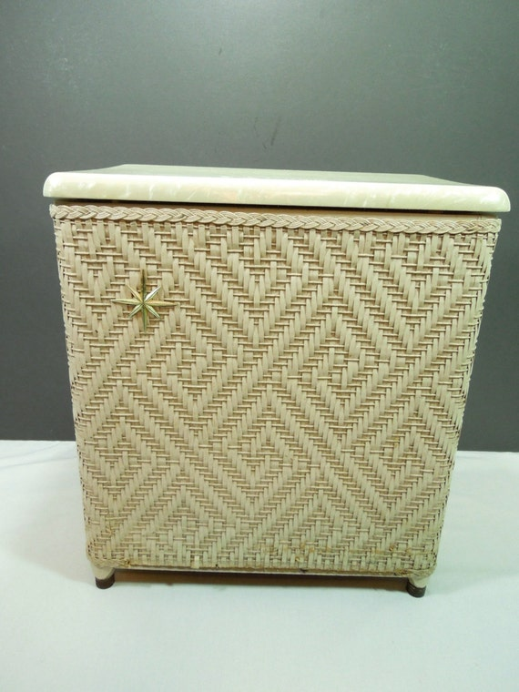 Items similar to wicker hamper dirty clothes hamper marbled plastic top atomic age mid - Hamper for dirty clothes ...