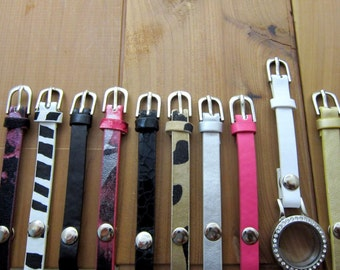 Leather Bracelets Wraps for Memory Lockets -Choose One- Red, Crackled Black, Pink, Silver, Gold, Black, White, Zebra, Floral, or Leopard