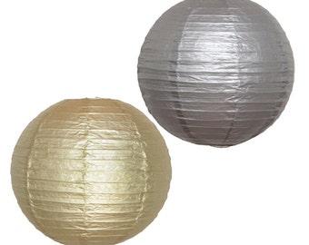18pcs Gold & Silver Paper Lanterns - DIY Wedding Decor, Birthday, Party, Baby Shower, Anniversary