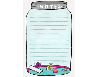 Monsters Terrarium - Monster Swimming Pool - Grown up Chore List, Funny Notepad, To Do Notes, List, Hand lettered Notepad/N-107