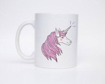 Vincent the Unicorn - Coffee Mug - Hand Lettered Mug - Morning Mug - Gift Under 20 - C Handle Mug/MUG-106