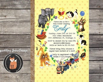 Printable 5x7 Vintage Children's Book Baby Shower Invitation - Little Golden Characters - Customizable