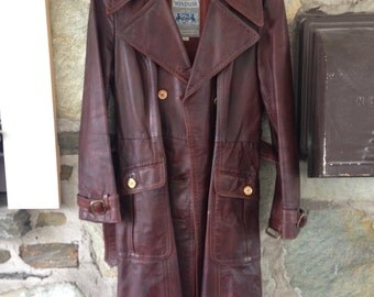 Leather Full Length Trench Coat Vintage- Windsor brand sz 14