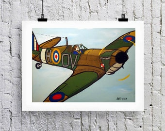 Spitfire and bulldog.  Greetings card/Art print