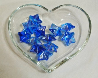 Star Shaped Glass Gems - Blue - Pack of 12