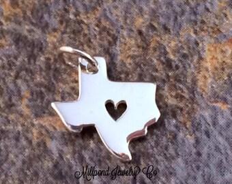 Texas Charm, Texas Heart Charm, Texas Pendant, Texas Stamping Blank, Sterling Silver Texas Charm, Sterling Silver Charm, TINY, PS0152