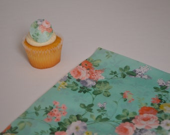 3 Floral Wafer Paper Sheets, Shabby chic wafer paper, shabby chic, Floral wafer paper, Frosting sheets for cakes, Edible Image, Cake Image,