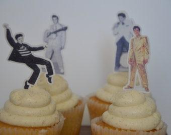 24 Elvis Cupcake Topper,Wafer Paper, Edible Elvis, Cupcake , Topper, Edible cupcake topper