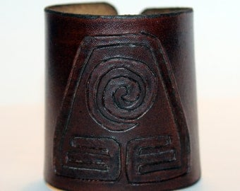 Leather Cuff With Earth Kingdom Symbol From Avatar The Last Airbender! Great Handmade Bracelet! Great Gift!