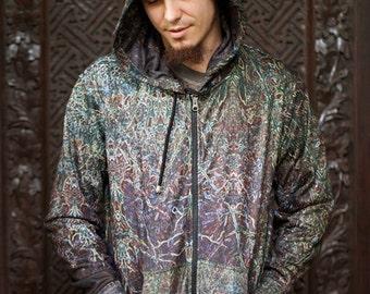 SPRITES Psychedelic  Men's Hoodie / Fractal Hoodie, psychedelic festival hoodie, Ayahuasca hoodie, Visionary hoodie, Crystalotus Hoodie, psy